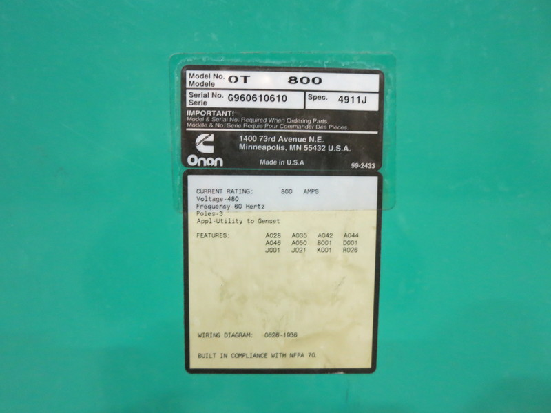 Used Cummins 800 Amp Automatic Transfer Switch Model OT 800