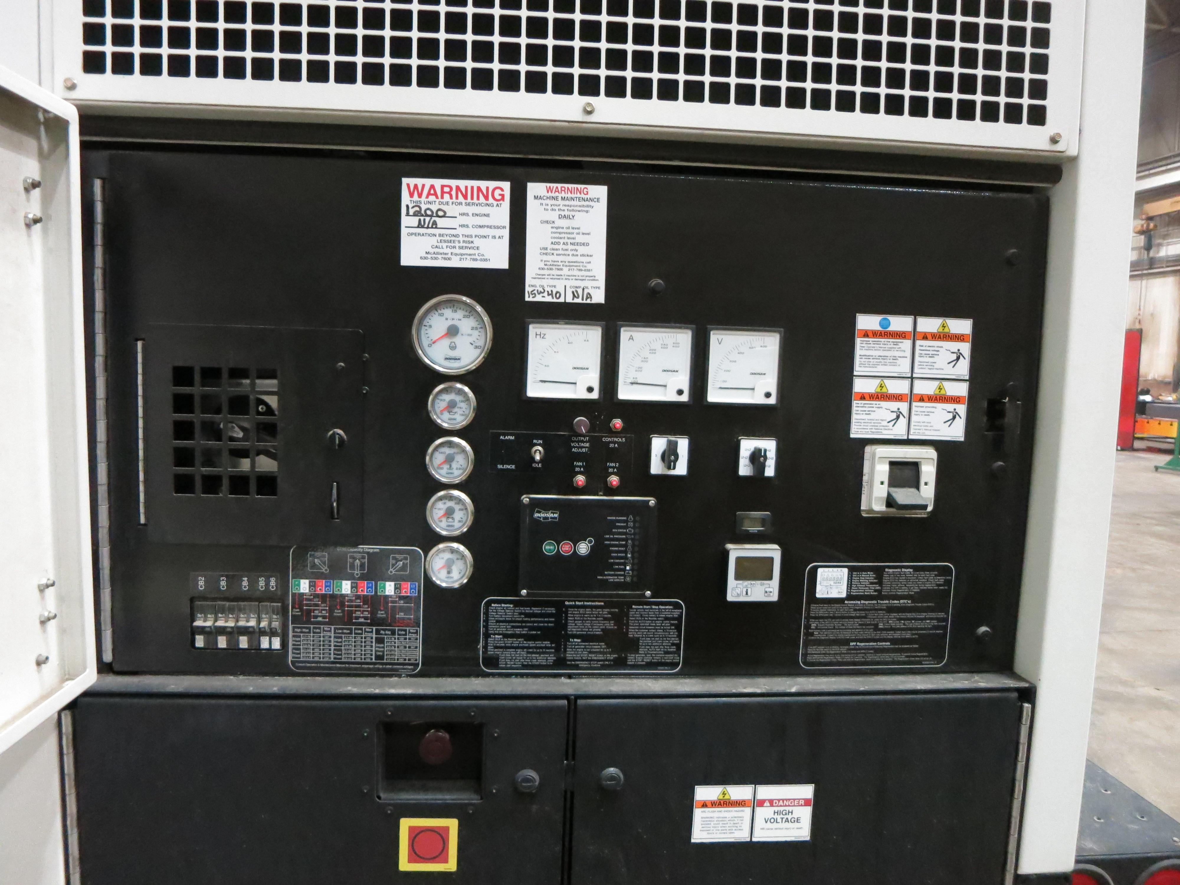 Used Doosan Cummins G190 Rental Grade Diesel Generator 740 Hrs