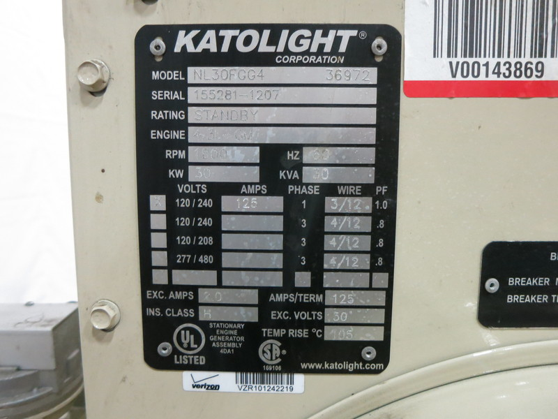 Used Katolight NL30FGG4 Natural Gas Generator, 0 Hrs