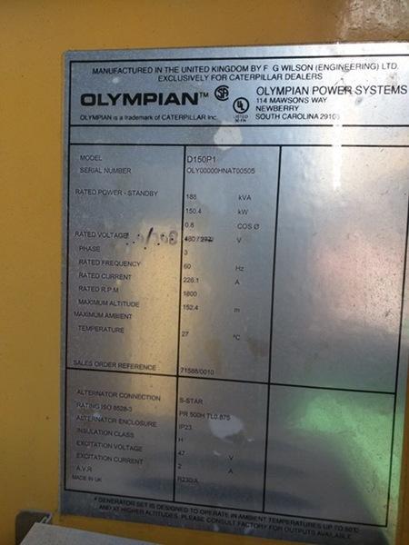 Used Caterpillar D150P1 Diesel Generator 183 Hrs