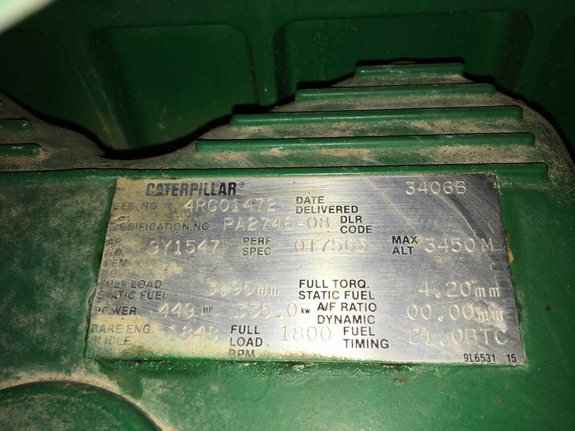 Used Caterpillar 3406B Diesel Generator 1147 Hrs