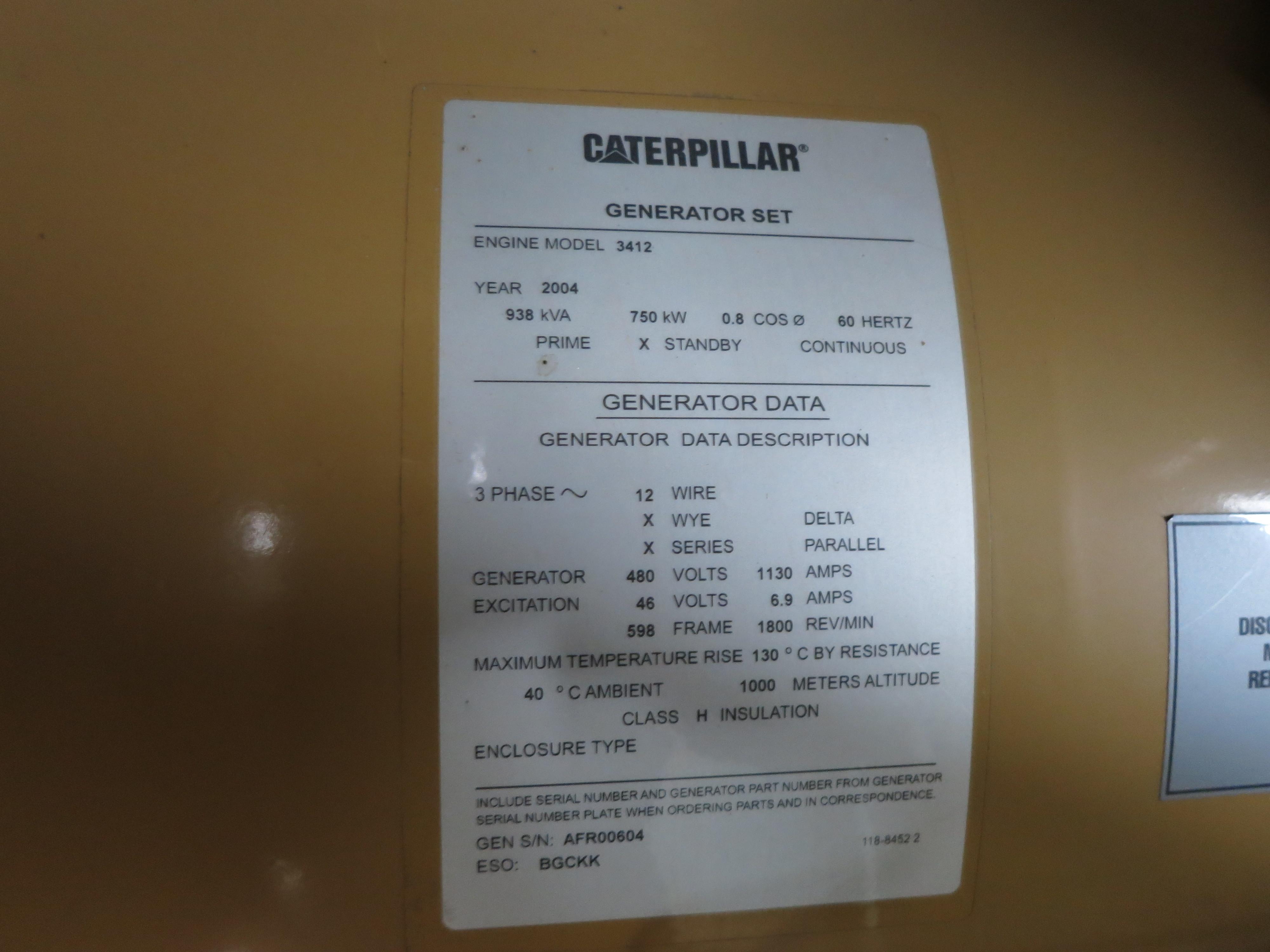 Used Caterpillar 3412 Diesel Generator, 394 Hrs
