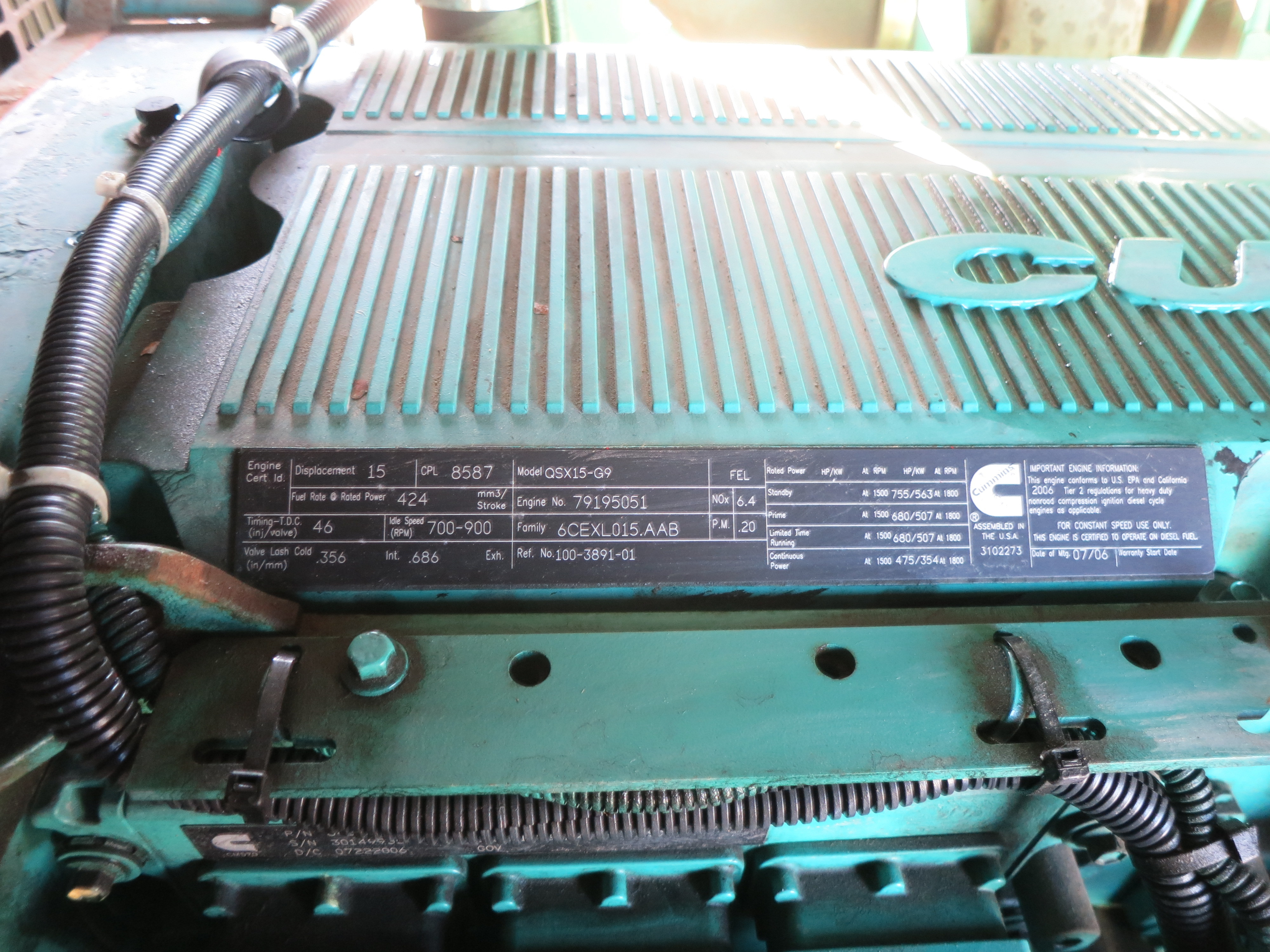 Used Cummins QSX15-G9 Rental Grade Diesel Generator   EPA Tier 2   500 KW    0 Price   CSDG