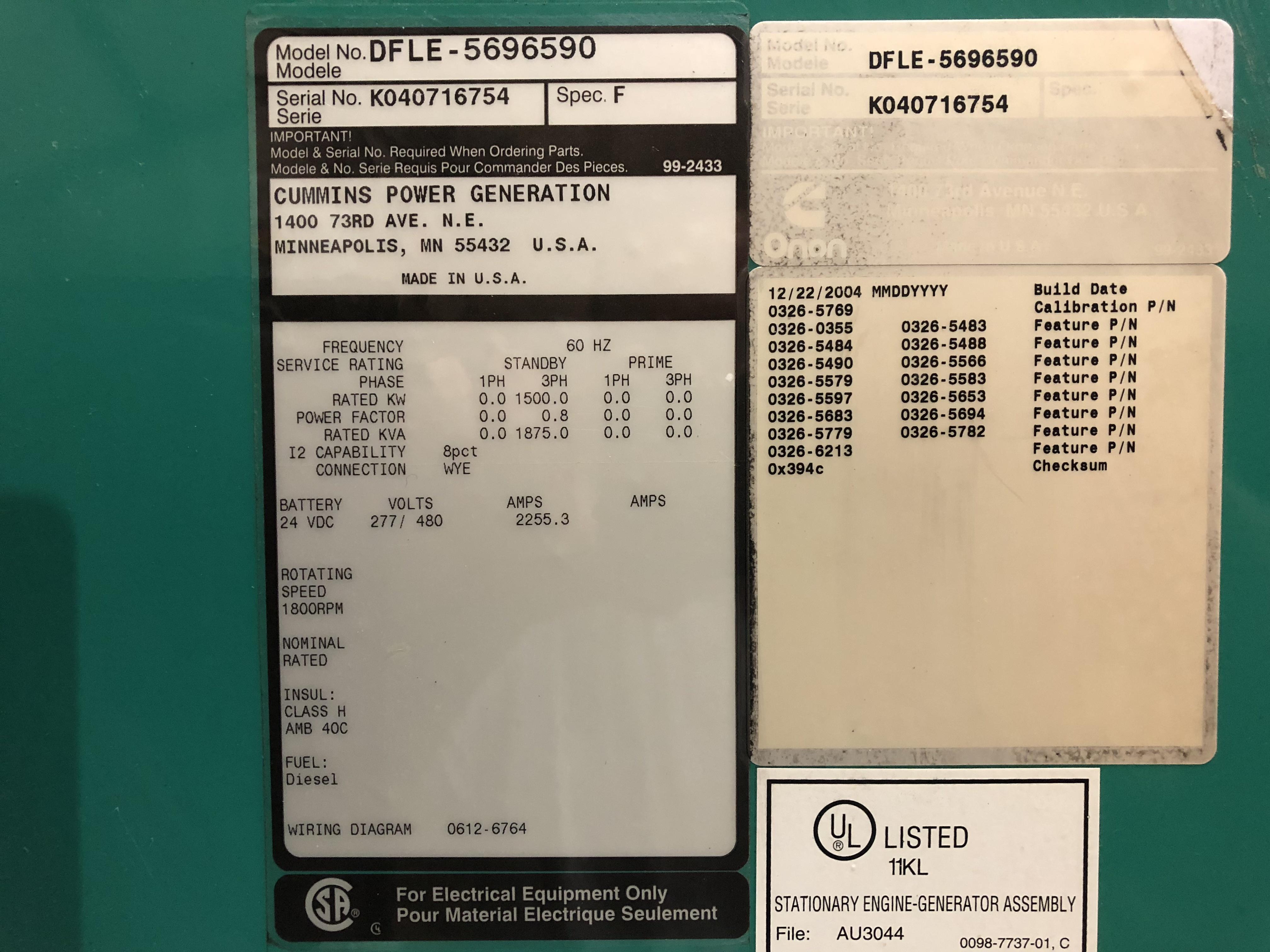 Used Cummins Dfle Kta50 G9 Diesel Generator 575 Hrs 1500 Kw 0 Stamford Logo Price Csdg