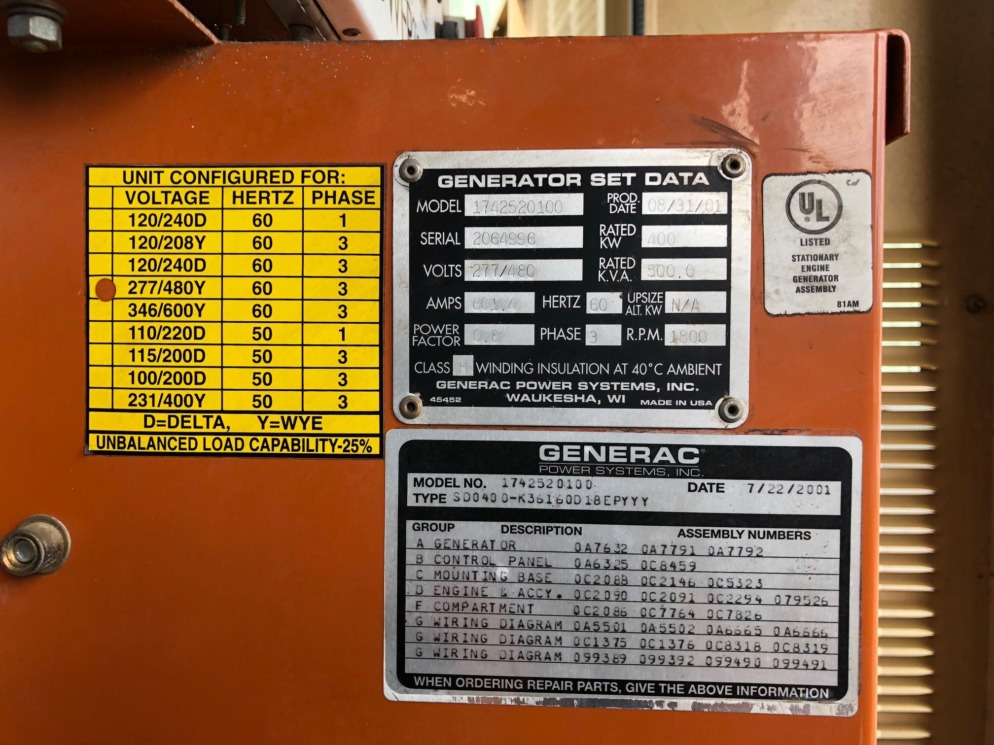 Used Generac Sd0400 Diesel Generator 294 Hrs 400 Kw 29950 C18 Cat Engine Wiring Diagram Price Csdg