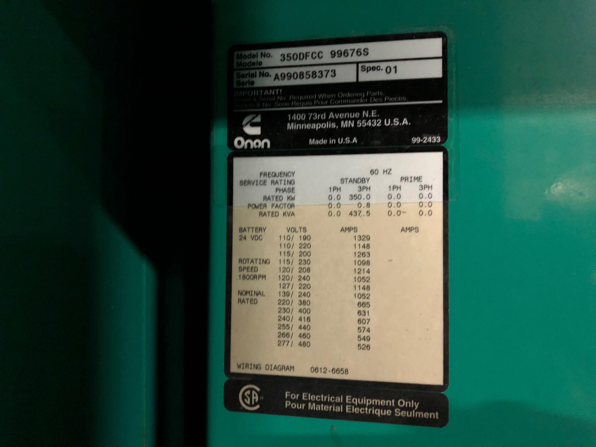 Used Cummins 350DFCC Diesel Generator | 786 Hrs | 350 KW | 0 Price