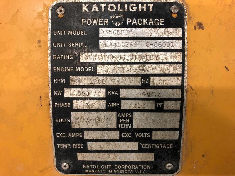 Used Katolight D350frz4 Diesel Generator 1683 Hrs 350