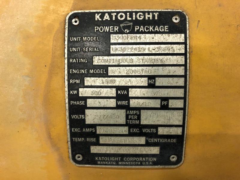 Used Katolight D300FRR4 Diesel Generator, 424 Hrs
