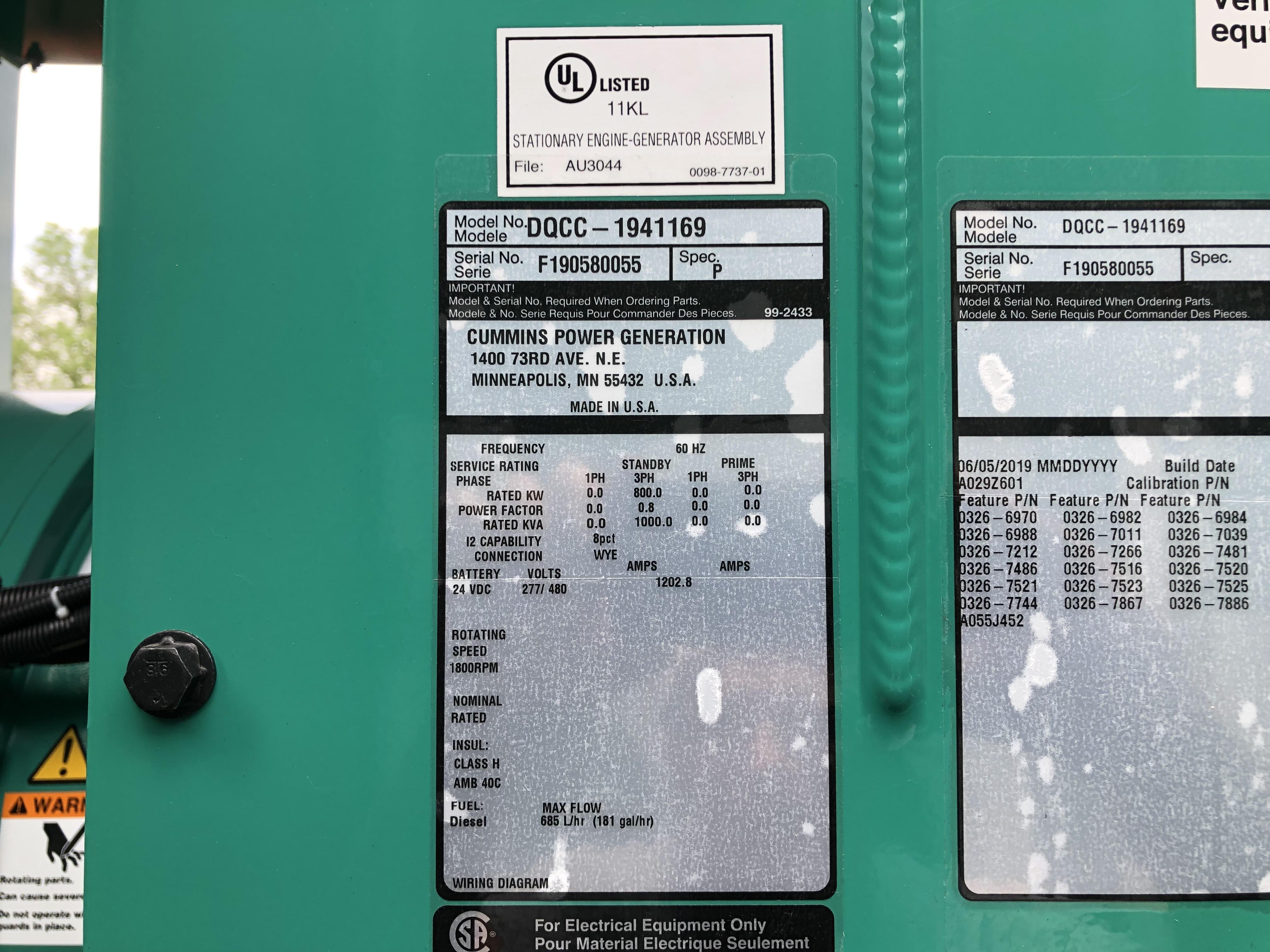 New Cummins DQCC QSK23-G7 NR2 Diesel Generator, EPA Tier 2
