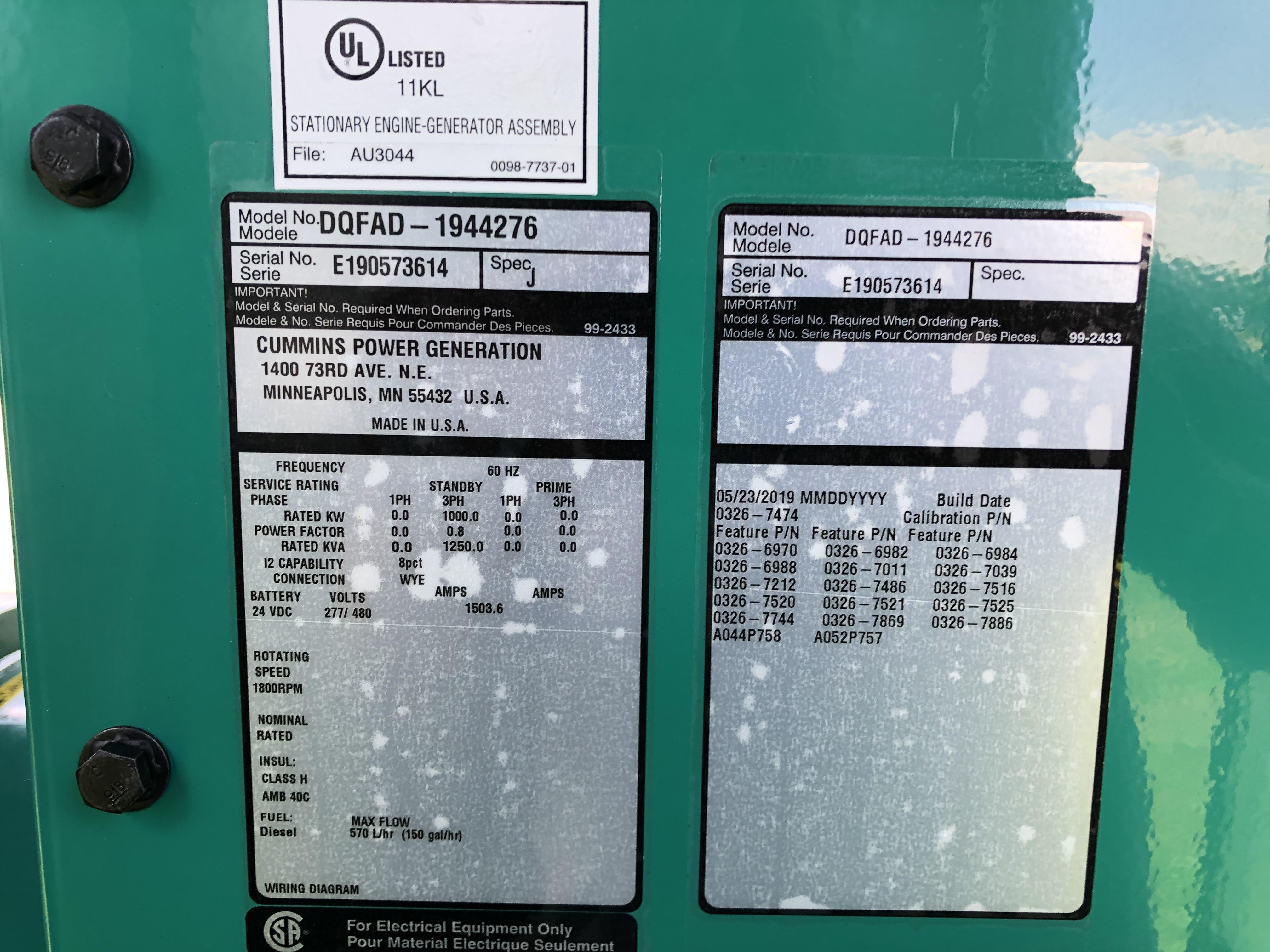 New Cummins DQFAD QST30-G5 NR2 Diesel Generator, EPA Tier 2