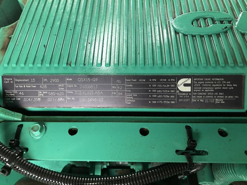 Used Cummins Dfek Qsx15 G9 Portable Diesel Generator 103
